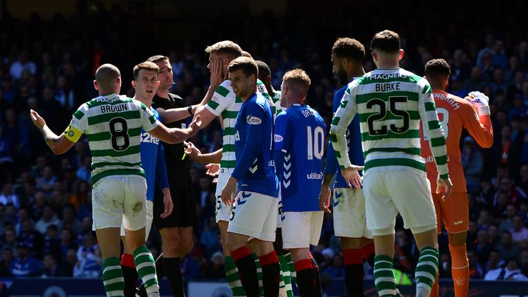 The incident sparked a melee in the Old Firm clash