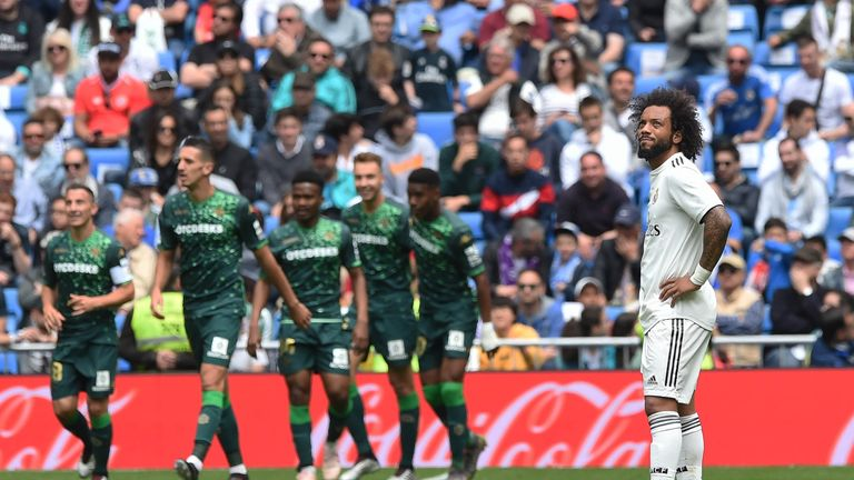 Marcelo cannot hide his disappointment during Real Madrid's defeat to Real Betis