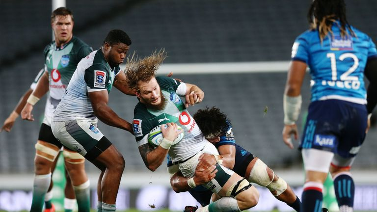 The Bulls' RG Snyman is tackled during the Super Rugby clash against the Blues