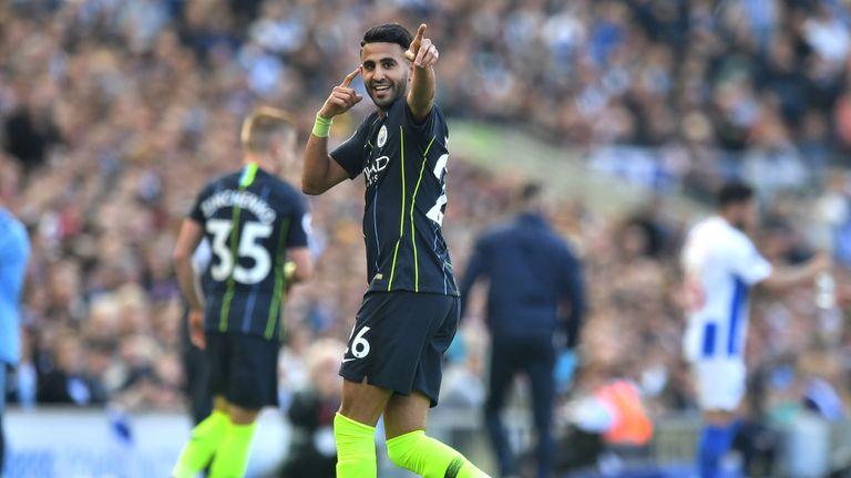 Riyad Mahrez of Manchester City celebrates after scoring his team's third goal