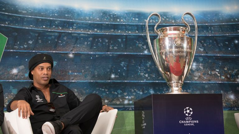 Ronaldinho, Heineken Ambassador, is pictured ahead of a press briefing with the UEFA trophy during the UEFA Champions League Trophy Tour Presented by Heineken at the Hilton Hotel, in Addis Ababa on 14 April 2018.