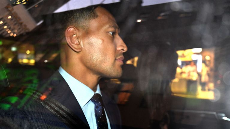 Israel Folau departs after Rugby Australia's code of conduct hearing