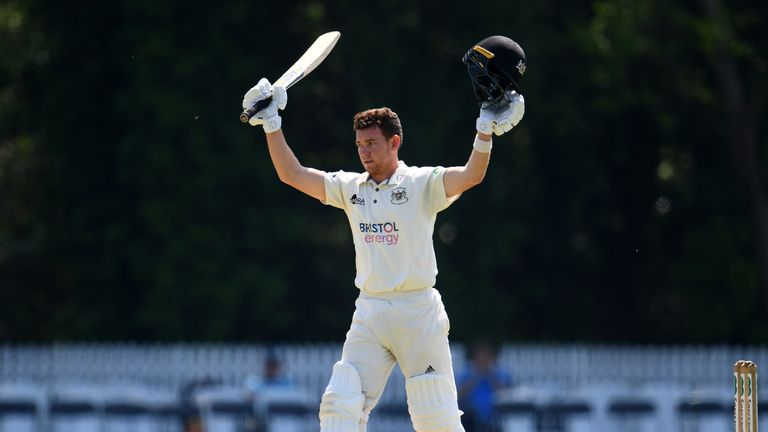 Gloucestershire's Ryan Higgins celebrates his century against , Gloucestershire