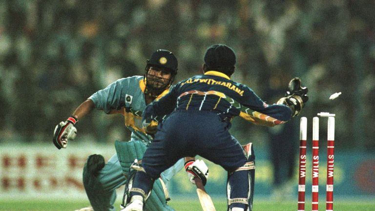 India collapsed to defeat after Sachin Tendulkar was stumped for 65 in the 1996 semi-final