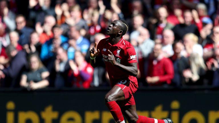 Sadio Mane celebrates his goal vs Wolves