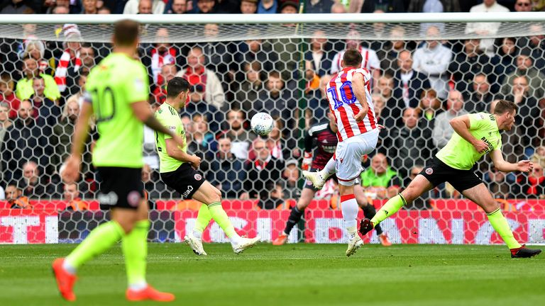 Sam Vokes gives Stoke a 1-0 lead at the bet365 Stadium