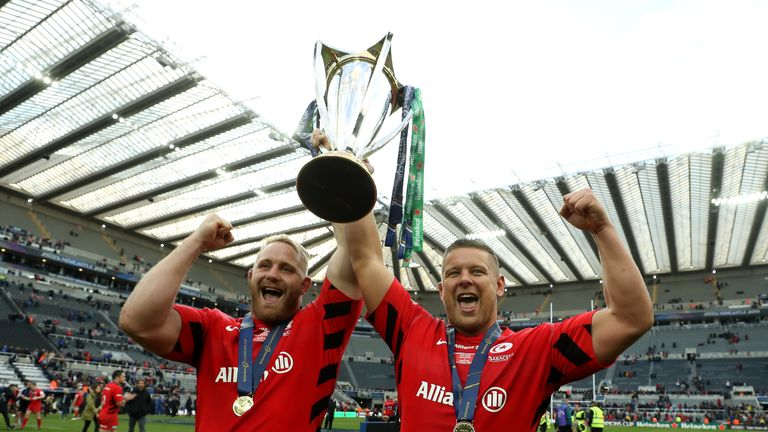 Richard Barrington and Vincent Koch celebrate Saracens' win over Leinster