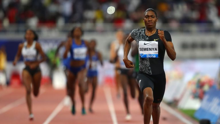 Semenya races clear to win the 800m at the Diamond League in Doha