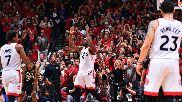 Serge Ibaka of the Toronto Raptors reacts during a game against the Milwaukee Bucks during Game Six of the Eastern Conference Finals