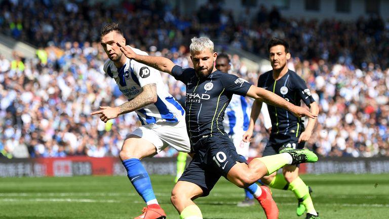 Sergio Aguero equalises against Brighton