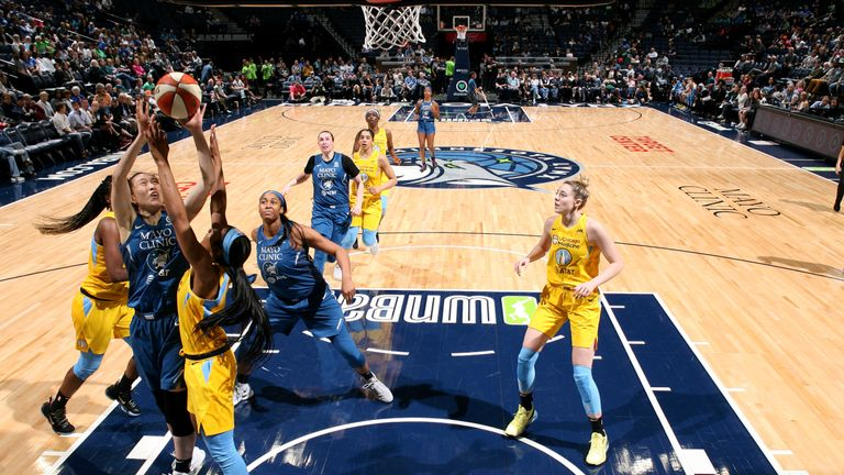 Shao Ting of Minnesota Lynx shoots the ball during the game against the Chicago Sky