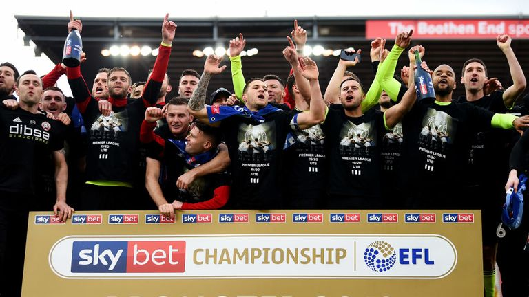 Sheffield United celebrate their promotion to the Premier League