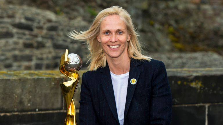 Kerr pictured with the FIFA Women's World Cup at Edinburgh Castle