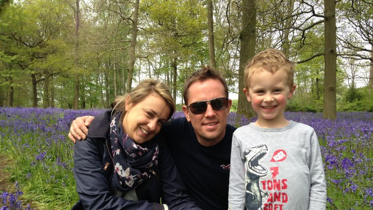 Simon Thomas with his wife, Gemma, and son, Ethan