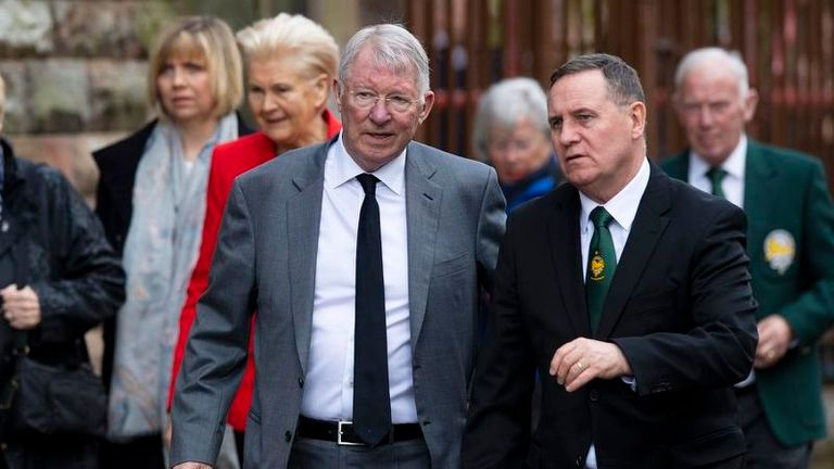 Sir Alex Ferguson was among the guests at the funeral of Celtic's legendary European Cup winning captain Billy McNeill