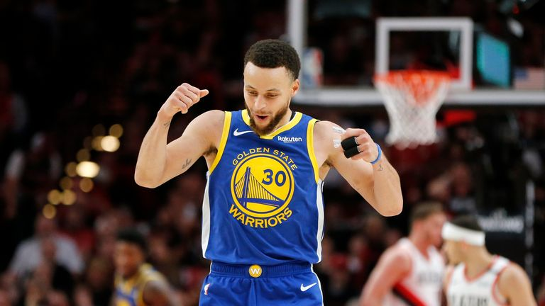 Stephen Curry #30 of the Golden State Warriors reacts during the second half against the Portland Trail Blazers in game three of the NBA Western Conference Finals at Moda Center on May 18, 2019 in Portland, Oregon