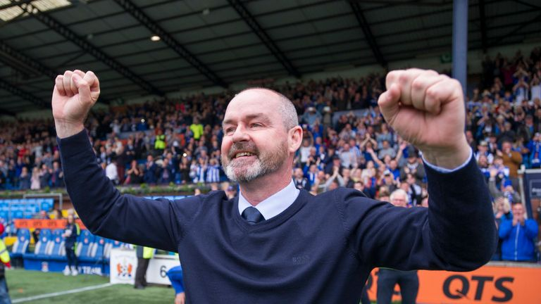 Kilmarnock manager Steve Clarke celebrates after his team secured a place in Europe next season after defeating Rangers 2-1