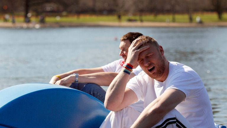 Andrew Flintoff  back on choppy waters, this time with Steve Harmison (L)