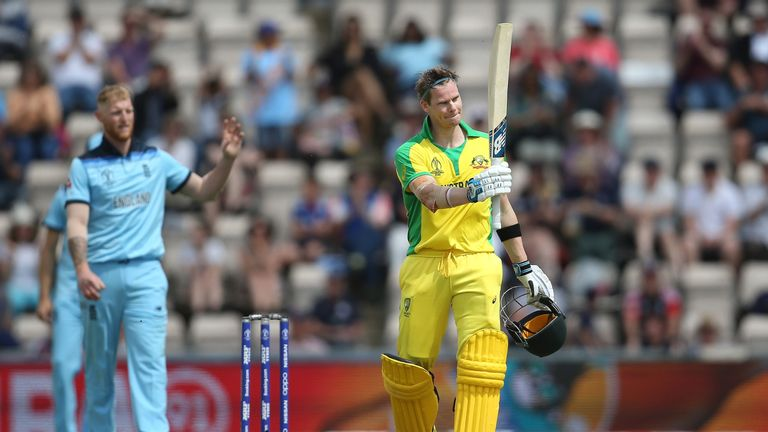 Steve Smith of Australia acknowledges the crowd after reaching his century during the ICC Cricket World Cup 2019 Warm Up match between England and Australia at the Ageas Bowl on May 25, 2019 in Southampton, England.  (Photo by Steve Bardens/Getty Images)