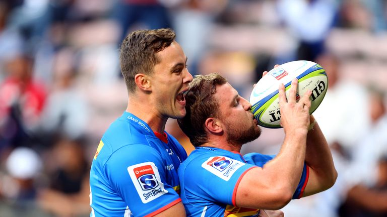 Jean-Luc du Plessis celebrates his score as the Stormers registered an impressive win over the Highlanders