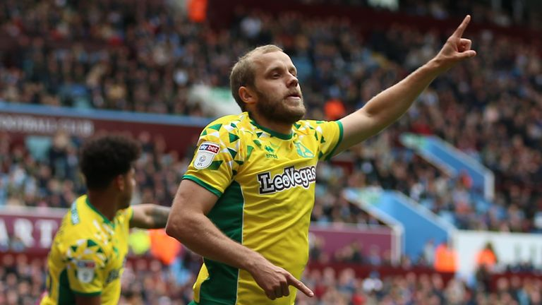 Teemu Pukki celebrates scoring the first goal of the game between Aston Villa and Norwich City