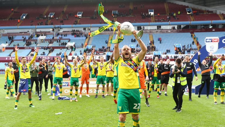 Teemu Pukki celebrates after Norwich were confirmed as champions