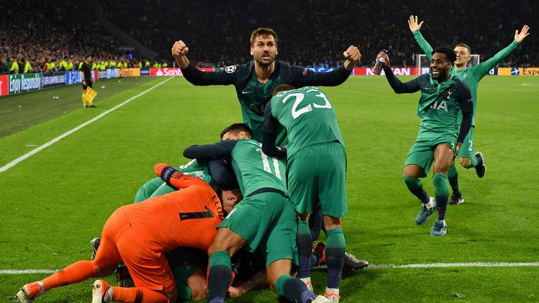 Spurs players celebrate beating Ajax after the final whistle