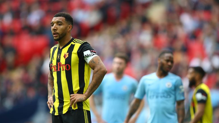 Troy Deeney looks on after Watford's FA Cup final defeat to Manchester City