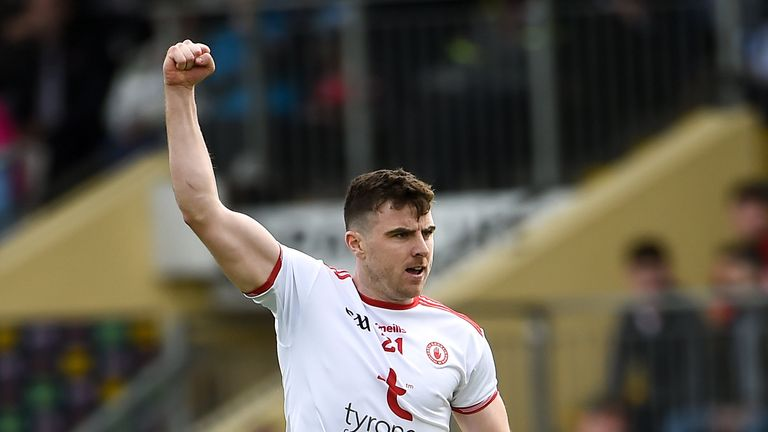 Tyrone's Connor McAliskey celebrates after scoring his sides final point late on