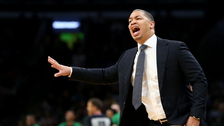 Tyronn Lue head coach of the Cleveland Cavaliers directs his team during the preseason game against the Boston Celtics at TD Garden on October 2, 2018 in Boston, Massachusetts.