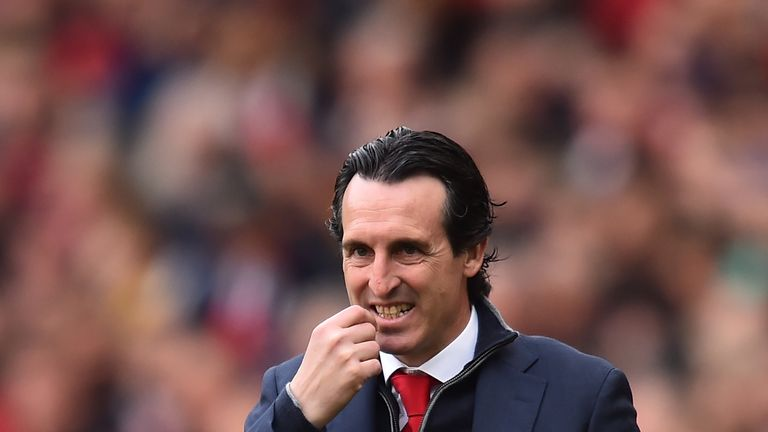 Unai Emery on the touchline at the Emirates Stadium during Arsenal vs Brighton