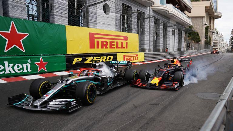 Lewis Hamilton and Max Verstappen go wheel-to-wheel during the 2019 Monaco GP