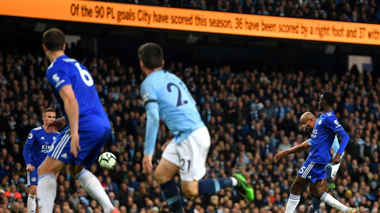 Vincent Kompany shoots from range to make it 1-0 vs Leicester City at the Etihad Stadium