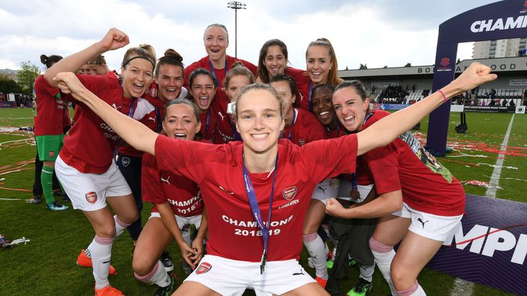 Vivienne Miedema leads the Arsenal celebrations after winning the WSL title