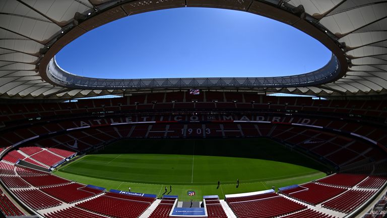 View of the Wanda Metropolitan stadium in Madrid taken on May 13, 2019 during a Media Day ahead of the 2019 UEFA Champions League Final. - The UEFA Champions League Final will be played at the Wanda Metropolitano stadium in Madrid on June 1, 2019, between Tottenham Hotspur FC and Liverpool FC.