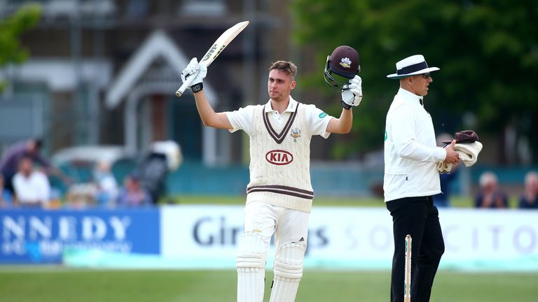 Will Jacks scored a fine maiden first-class hundred to help rescue Surrey against Kent
