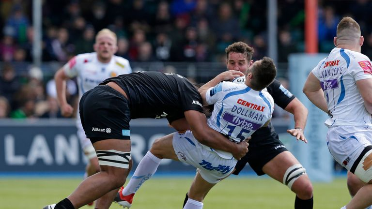 Will Skelton was sin-binned for taking out Exeter's Phil Dollman in the air