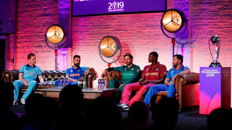 England's Eoin Morgan, India's Virat Kohli, Pakistan's Sarfaraz Ahmed, West Indies' Jason Holder and Afghanistan's Gulbadin Naib at the Captain's Day