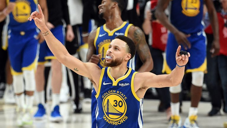 Stephen Curry celebrates during the Warriors' series-clinching Game 4 win over the Trail Blazers