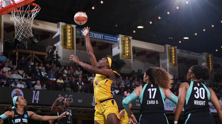 Indiana Fever rookie Teaira McCowan of the Indiana Fever shoots the ball against the New York Liberty