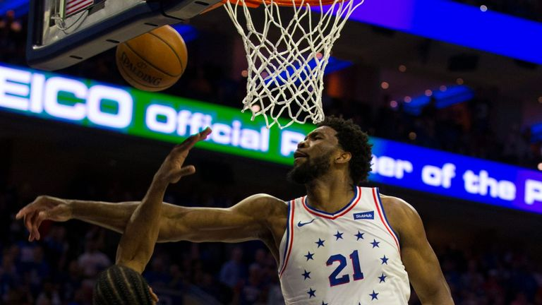 Joel Embiid rejects Kawhi Leonard during Philadelphia's Game 3 win over Toronto