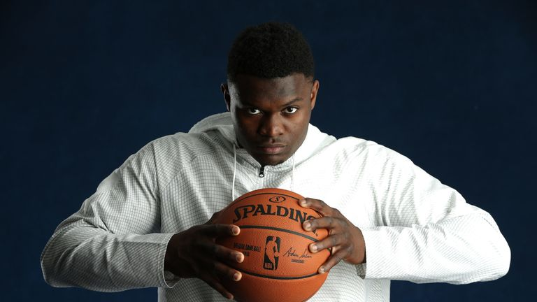 Projected No 1 Draft pick Zion Williamson poses ahead of the lottery