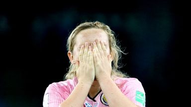 Scotland's Erin Cuthbert appears dejected after the final whistle