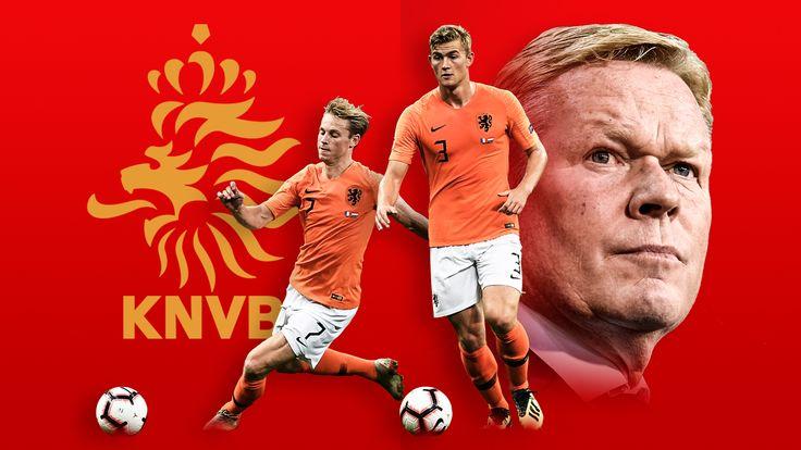 Netherlands Frenkie De Jong, Matthijs De Ligt and manager Ronald Koeman