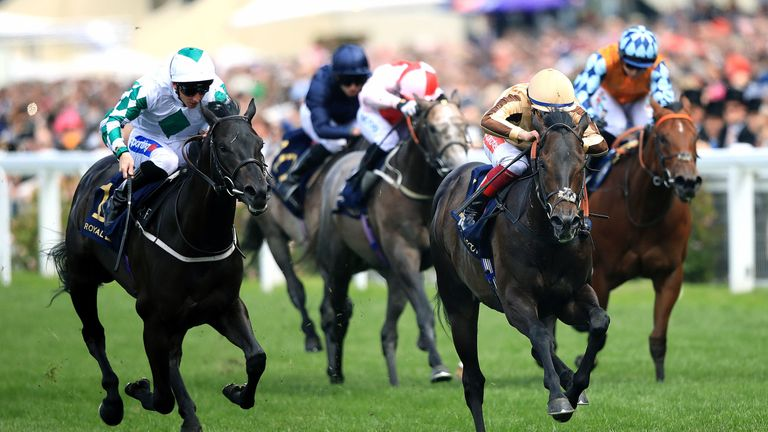 A'Ali (centre) beats Ventura Rebel to win the Norfolk Stakes