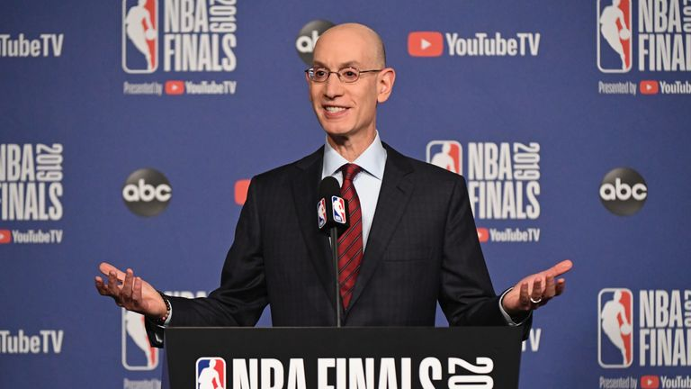 Adam Silver addresses the media at an NBA Final news conference