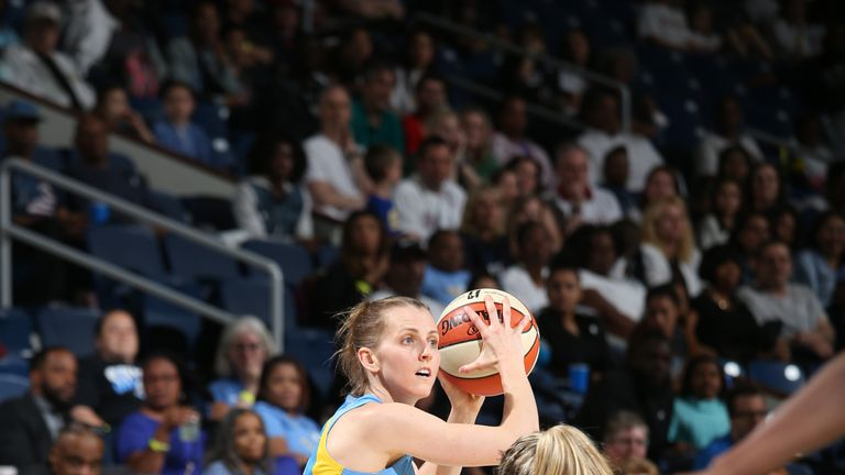 Allie Quigley of the Chicago Sky attacks against the Seattle Storm