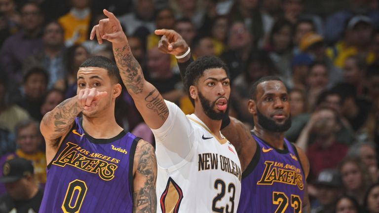 Anthony Davis and LeBron James in action during the 2018/19 regular season