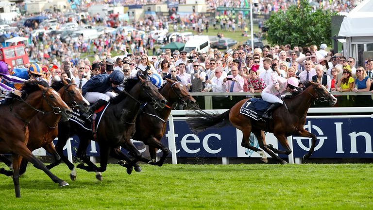 Anthony Van Dyke ridden by Jockey Seamie Heffernan on the way to winning the Investec Derby Stakes during Derby Day of the 2019 Investec Derby Festival at Epsom Racecourse, Epsom. PRESS ASSOCIATION Photo. Picture date: Saturday June 1, 2019. See PA story RACING Epsom. Photo credit should read: Simon Cooper/PA Wire. RESTRICTIONS: Editorial Use only, commercial use is subject to prior permission from The Jockey Club