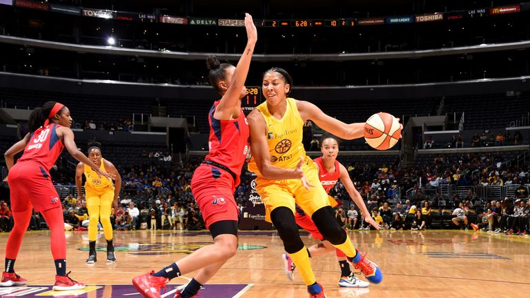 Candace Parker attacks the Mystics defense on her return for the Los Angeles Sparks